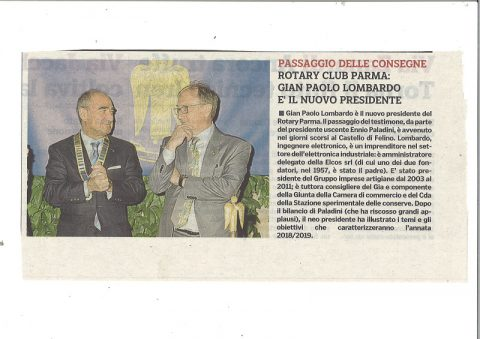 Passaggio delle Consegne da Ennio Paladini a Gian Paolo Lombardo – Castello di Felino – Mercoledì 27 Giugno.