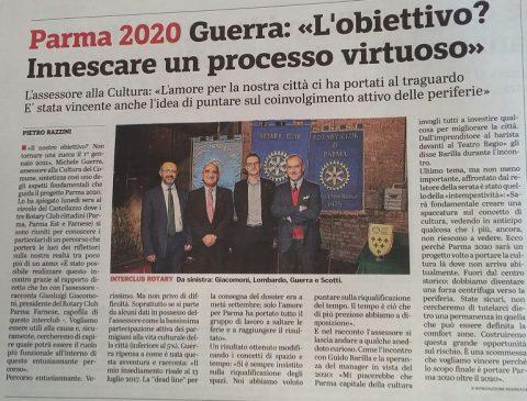 Lunedì 8 Ottobre-Interclub con Rotary Farnese e Rotary Parma Est: Incontro con Michele GUERRA, Assessore alla Cultura del Comune di Parma