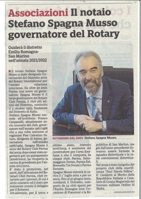 Il nostro socio Stefano SPAGNA MUSSO sarà Governatore del Distretto Emilia Romagna-San Marino nell'annata 2021-2022