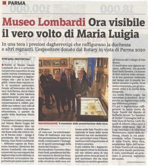 Il Rotary Club di Parma dona una vetrina al Museo Glauco LOMBARDI per esporre i dagherrotipi degli ultimi sovrani di Parma – Mercoledì 3 Aprile 2019