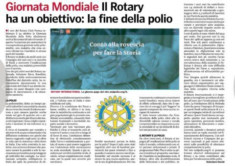 24 Ottobre : Giornata Mondiale della Polio – Articolo del nostro socio Prof. Salvatore DAVID su Gazzetta di Parma.