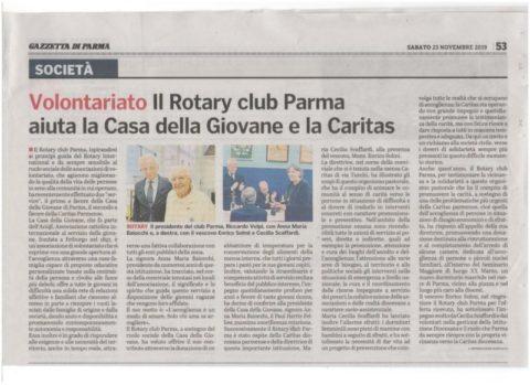 Iniziative del Rotary Club di Parma a favore della Casa della Giovane e della Caritas – Gazzetta di Parma del 23 Novembre 2019
