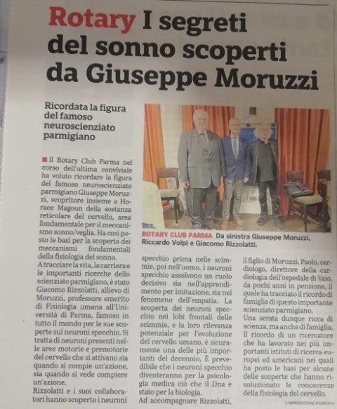 Conversazione sul grande scienziato Giuseppe MORUZZI con interventi del Prof. Giacomo RIZZOLATI e del figlio Prof. Paolo MORUZZI – Mercoledì 23 Ottobre 2019.