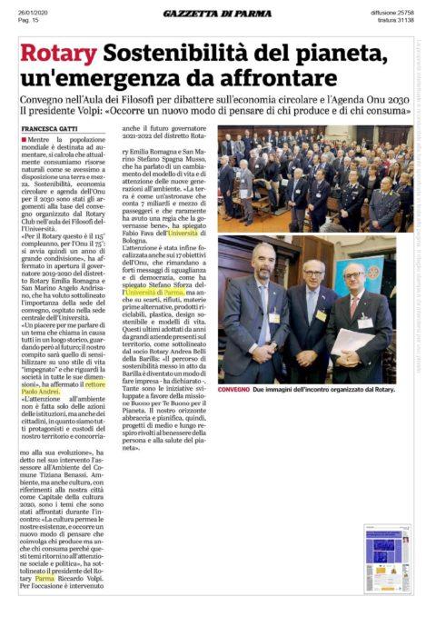 Convegno del Distretto 2072 sulla Economia Circolare – Gazzetta di Parma del 26 Gennaio 2020