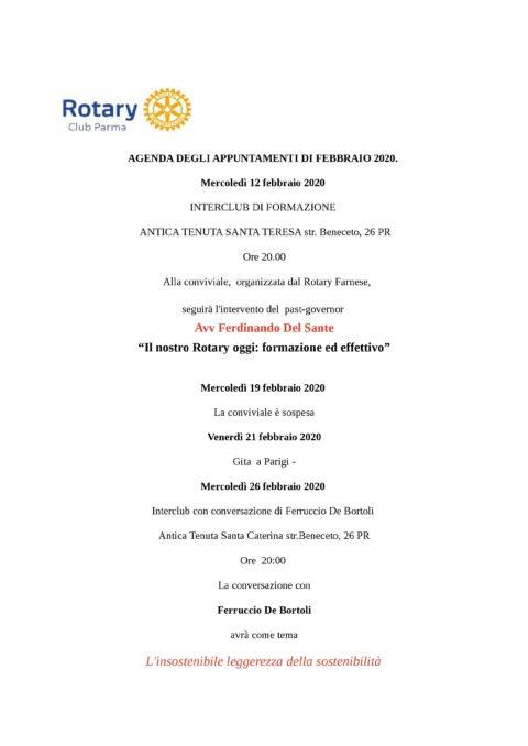 Rotary Club di Parma – Appuntamenti del mese di Febbraio 2020