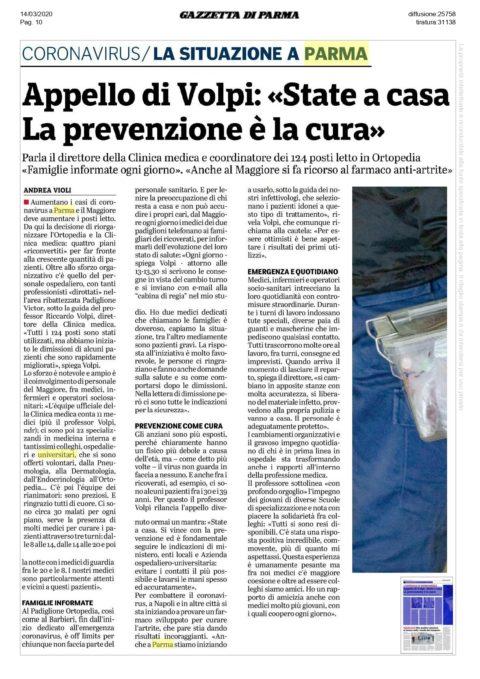 Intervista della Gazzetta di Parma al nostro Presidente Riccardo VOLPI – Sabato 14 Marzo 2020