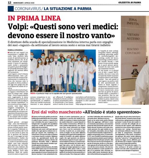 Intervista della Gazzetta di Parma al nostro Presidente Prof. Riccardo VOLPI – 1 Aprile 2020