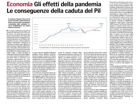 Il professor Eugenio Pavarani spiega gli effetti della pandemia e le conseguenze della caduta del Pil. Sintesi pubblicata dalla Gazzetta di Parma della video conferenza tenuta per il Rotary Parma