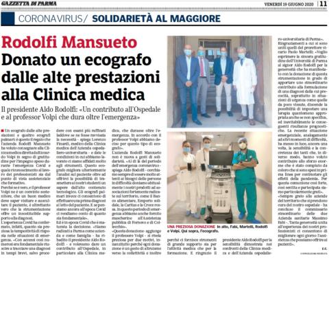 Rodolfi Mansueto – Donato un ecografo dalle alte prestazioni alla Clinica medica